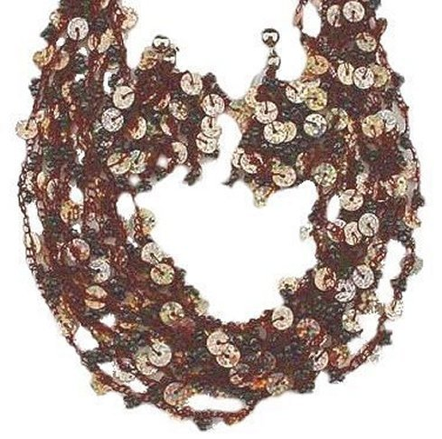 Primary image for Chocolate Brown Necklace & Earring Set w/ Sequins & Beads Strands Lightweight