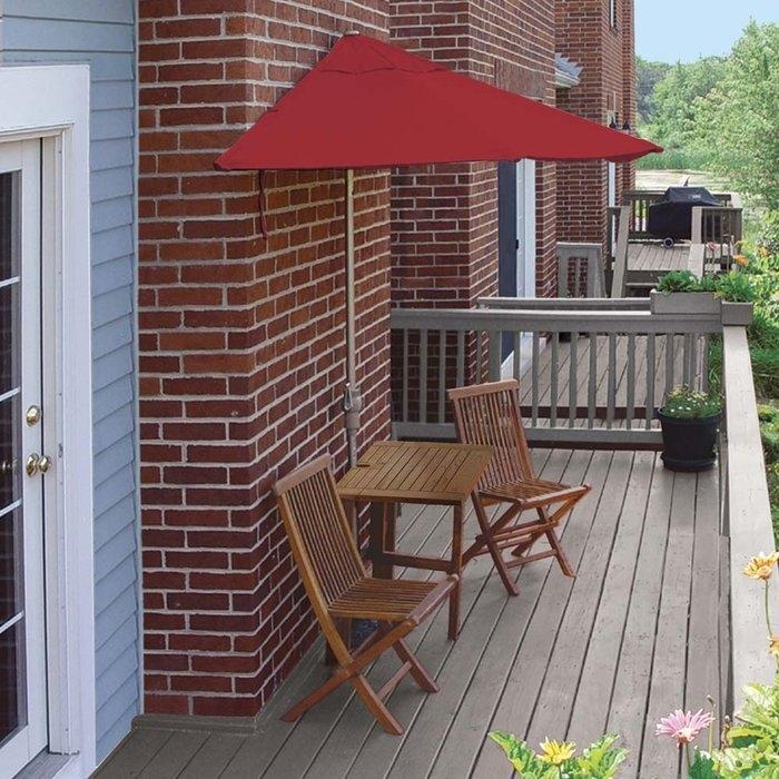 Apartment patio set 5 piece red umbrella canopy balcony for Small balcony furniture sets