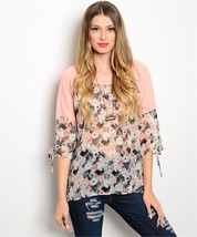 Peach Black Ivory Floral Shirt Top 3/4 length Sleeves - $18.39
