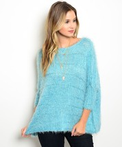 Acrylic Wool Turquoise Mini Sequin Sweater 3/4 Length Sleeves - $39.00