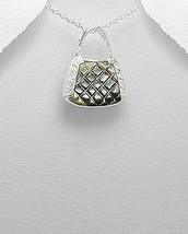 Quilted Shell Cz Sterling Silver Handbag Purse Pendant Necklace - £15.67 GBP