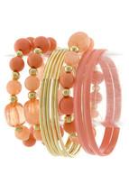 Peach Orange Bangle Stretch Beaded 10 piece Bracelet Set - $21.00