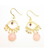 Gold Tone Rose Quartz Garnet Freshwater Pearl Drop Dangle Earrings - $23.99