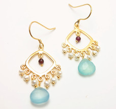 Gold Tone Blue Chalcedony Garnet Freshwater Pearl Drop Dangle Earrings - $19.99