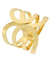 Hinged Cuff Bangle Bracelet Gold Tone Metal Fold Over - $27.99