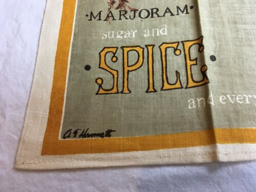 VTG SUGAR AND SPICE AND EVERYTHING NICE HERBS Kitchen Tea Towel UNUSED image 2