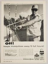1960 Print Ad Off Mosquito Repellent Fisherman on Lake S.C. Johnson - $11.56