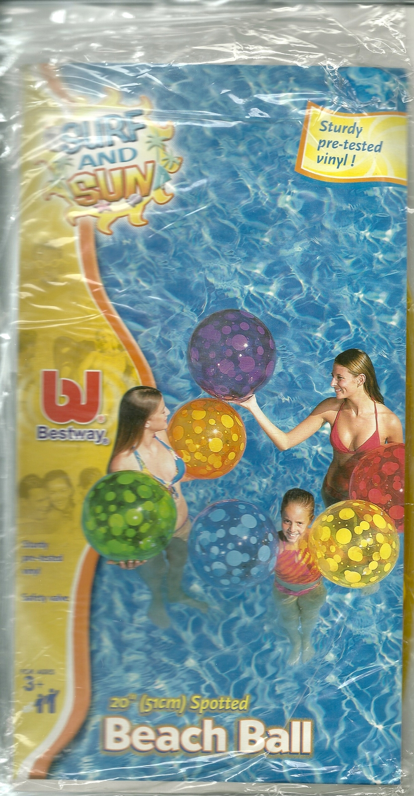 Inflatable vinyl beach ball 20 inch spotted transparent new in package  2