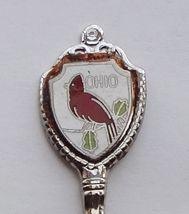 Collector Souvenir Spoon USA Ohio Cardinal Cloisonne Emblem Fluted Bowl - $2.99