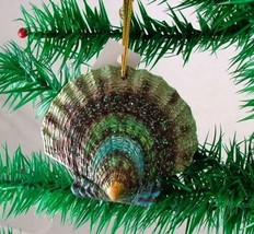 Tropical Beach Seashell Teal and Green Christmas Ornament ORNShell03 - $15.76