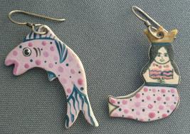 Hand Crafted Artist Signed Ceramic Dangle Earrings MERMAID & Fish Pink & Black - $29.99