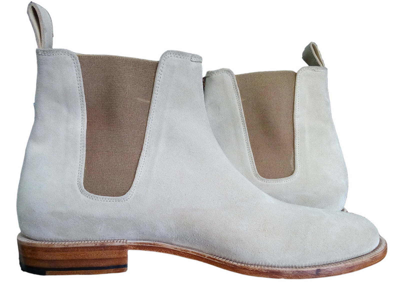 new handmade mens light brown chelsea suede leather boots