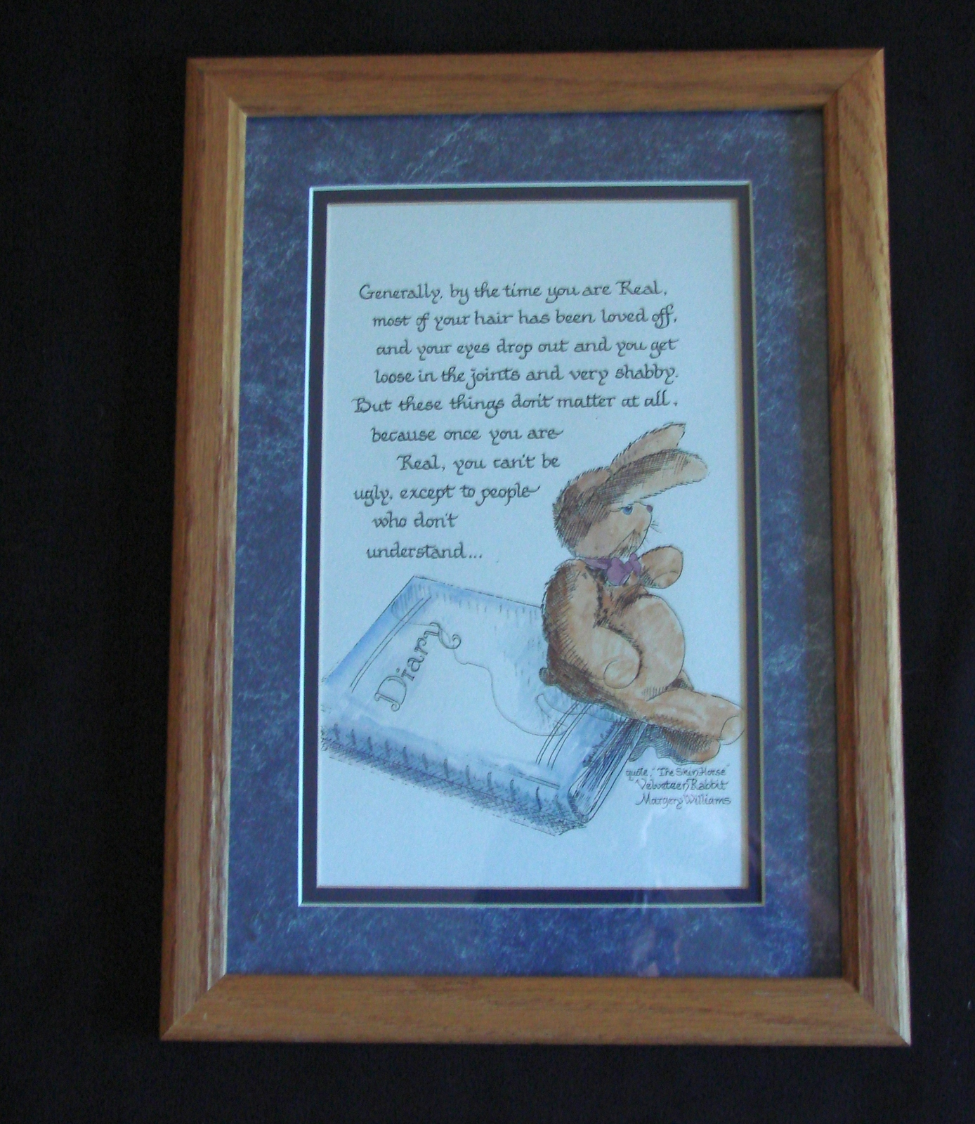Primary image for Velveteen Rabbit REAL Quote Calligraphy Print by Eydie M Liebelt