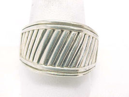 BIG and BOLD Solid STERLING Silver RING with Textured Design - Size 11 - £49.24 GBP