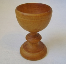 Carved Wood Egg Cup Honey Brown Vintage Footed Wooden Holder Collectible  - $20.00