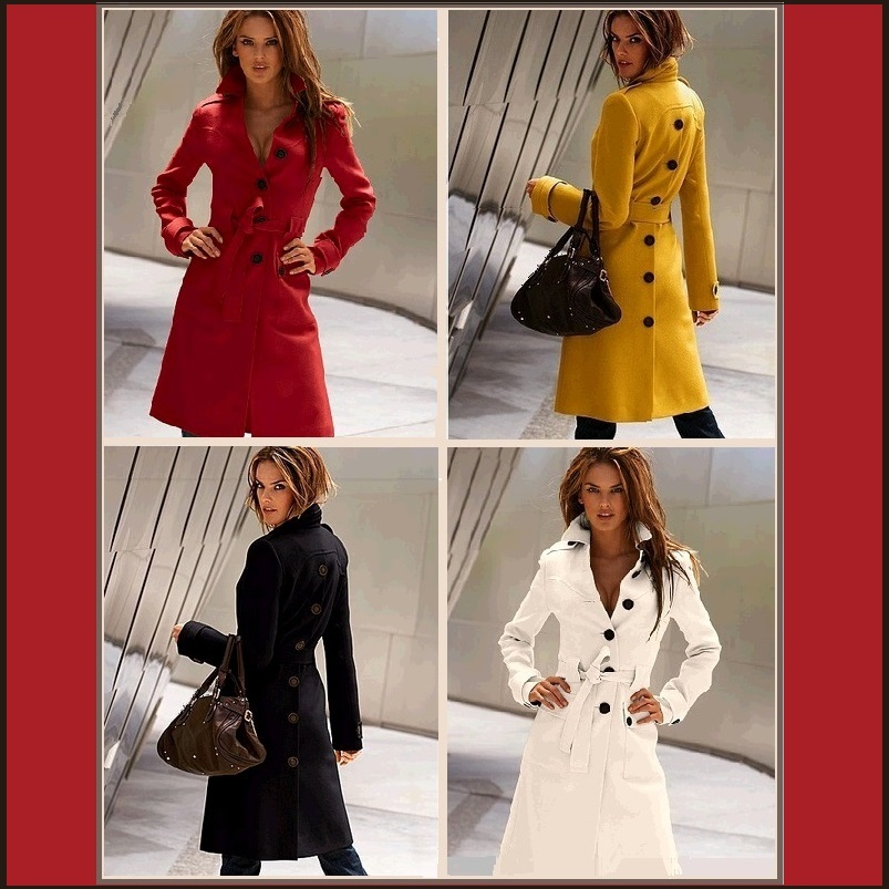 Smart Long Trench Buttons Front and Back Turn Down Collar Overcoat with Belt
