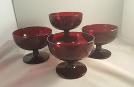 SET 4 Bowls: Vintage Anchor Hocking Royal Ruby Red 4 Sherbet Dessert Ber... - $39.99