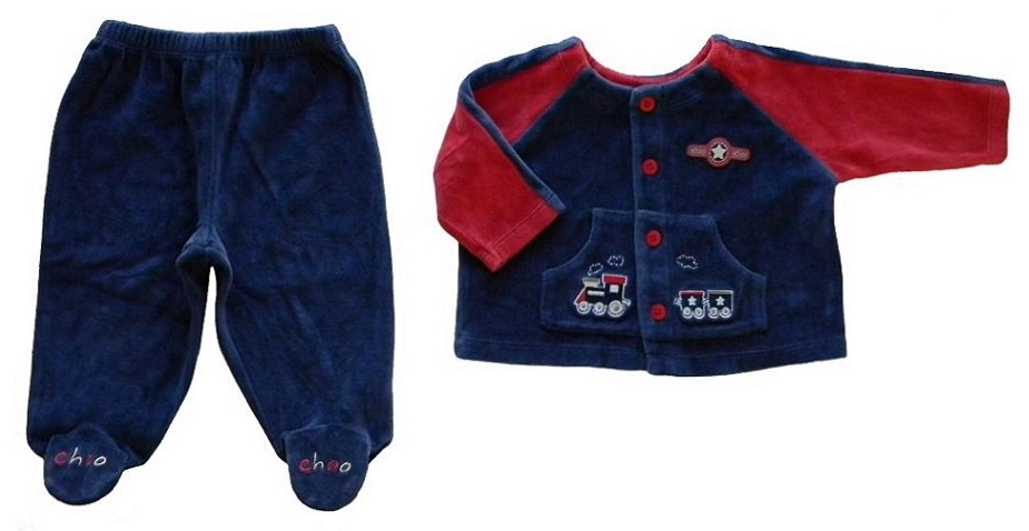 Baby Sprockets 3-6 Mos. Baby Boys Blue Velour Top and Footie Pants Outfit