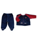 Baby Sprockets 3-6 Mos. Baby Boys Blue Velour Top and Footie Pants Outfit - $2.99