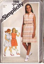 1980 PULLOVER DRESS Pattern 9881-s Girl Size 12 - Complete - $10.69