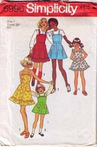1975 DRESS or JUMPER Pattern 6996-s Girl Size 7 - Complete - $10.69