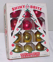 12 Vintage Glass Shiny Brite Christmas Ornaments IOB - 6 Red & 6 Gold - $9.74