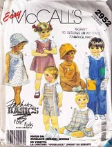1987 JUMPER, SUNDRESS, OVERALLS, SHIRT, HAT & TOYS Pattern 2952-m Toddle... - $12.59