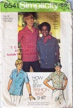 1974 SHIRTS Pattern 6541-s Teen Boy Size 16 - Complete - $10.69
