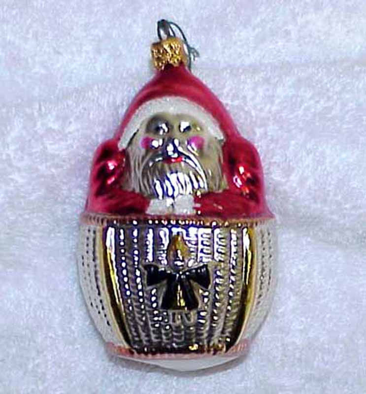 Primary image for Santa in Hot Air Balloon Vintage Glass Christmas Ornament NOS - 1982