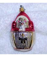 Santa in Hot Air Balloon Vintage Glass Christmas Ornament NOS - 1982 - $20.00