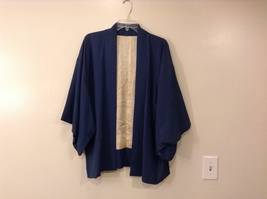 Vintage Japanese 100% Silk Blue/Cream Short Kimono Haori Jacket