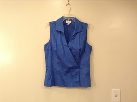 Ann Taylor LOFT Blue Sleeveless V-neck Cotton Blouse Top, size 12, shape fit
