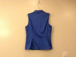 Ann Taylor LOFT Blue Sleeveless V-neck Cotton Blouse Top, size 12, shape fit image 2