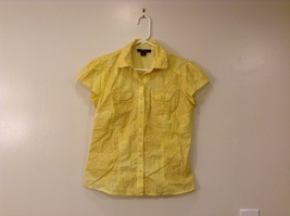 Style & Co. Petite 100% Cotton Yellow Snaps Front Blouse Shirt, Size 6P