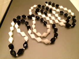 Flapper Long Black and White old plastic beads Bold Long String Beaded N... - $25.00