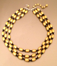 HONG KONG signed Multi Strands Plastic Golden Pearls Necklace Authentic Vintage  - $45.00
