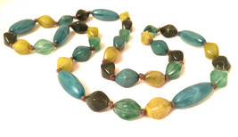 Green Hand knotted swirled plastic beads Long String Beaded Necklace Authentic T - $20.00
