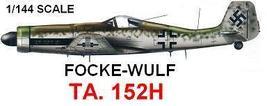 1/144 scale Resin Model Kit Focke Wulf  TA 152H - $12.00