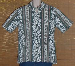 Royal Creations Hawaiian Shirt Green in vertical flowers Hawaiian symbol... - $20.95
