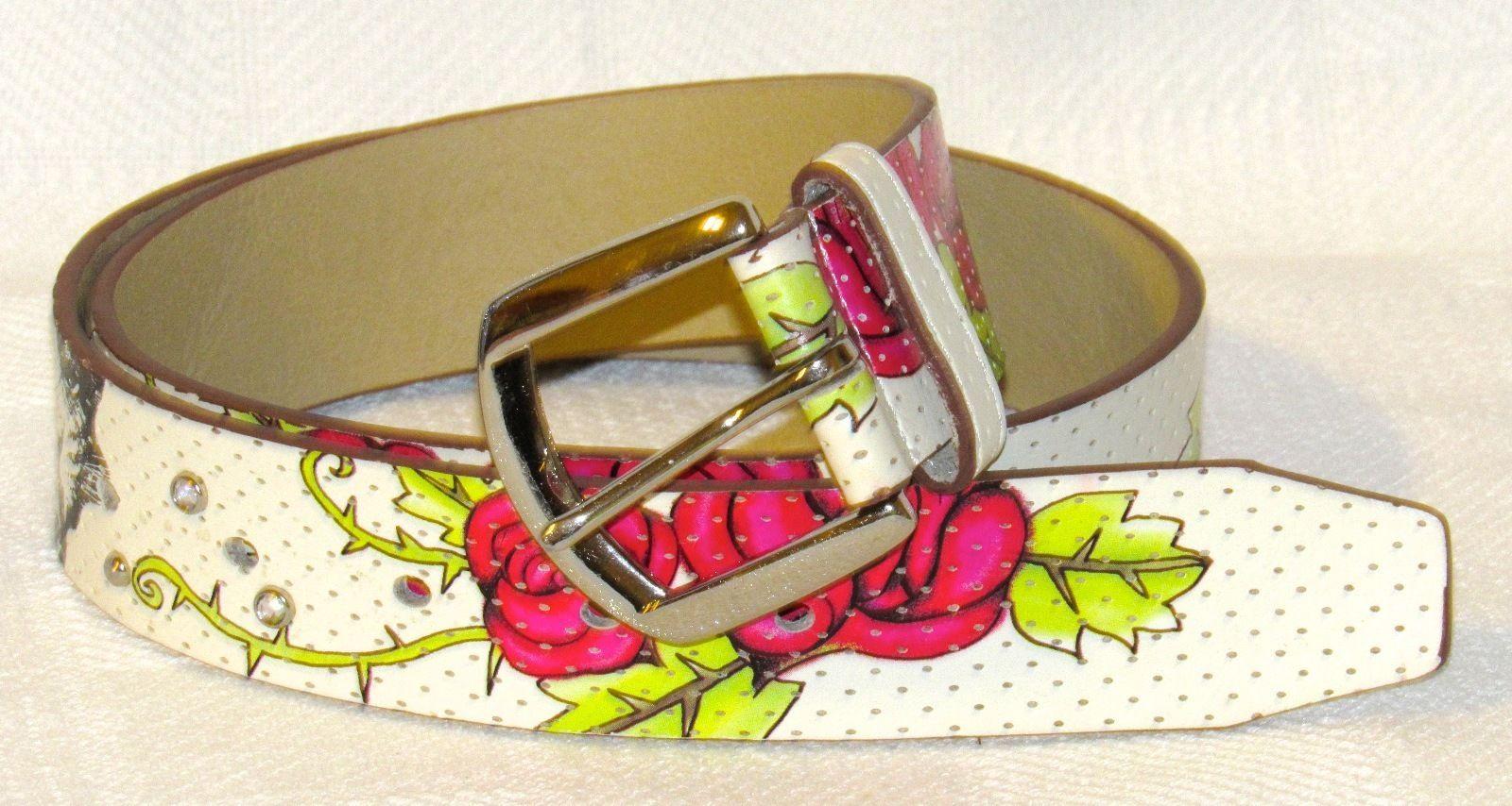 Relic Faux Leather Tiger Rose Heart Embellished Stud Rhinestone Belt