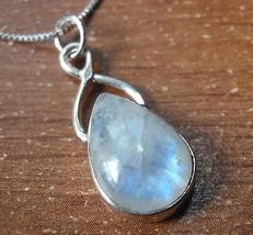 Blue Moonstone Teardrop 925 Sterling Silver Pendant Corona Sun Jewelry u... - $316,84 MXN