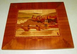 Cherry Rosewood Walnut Satinwood Mahogany Inlaid Mountain Villa Scene Ha... - $149.00