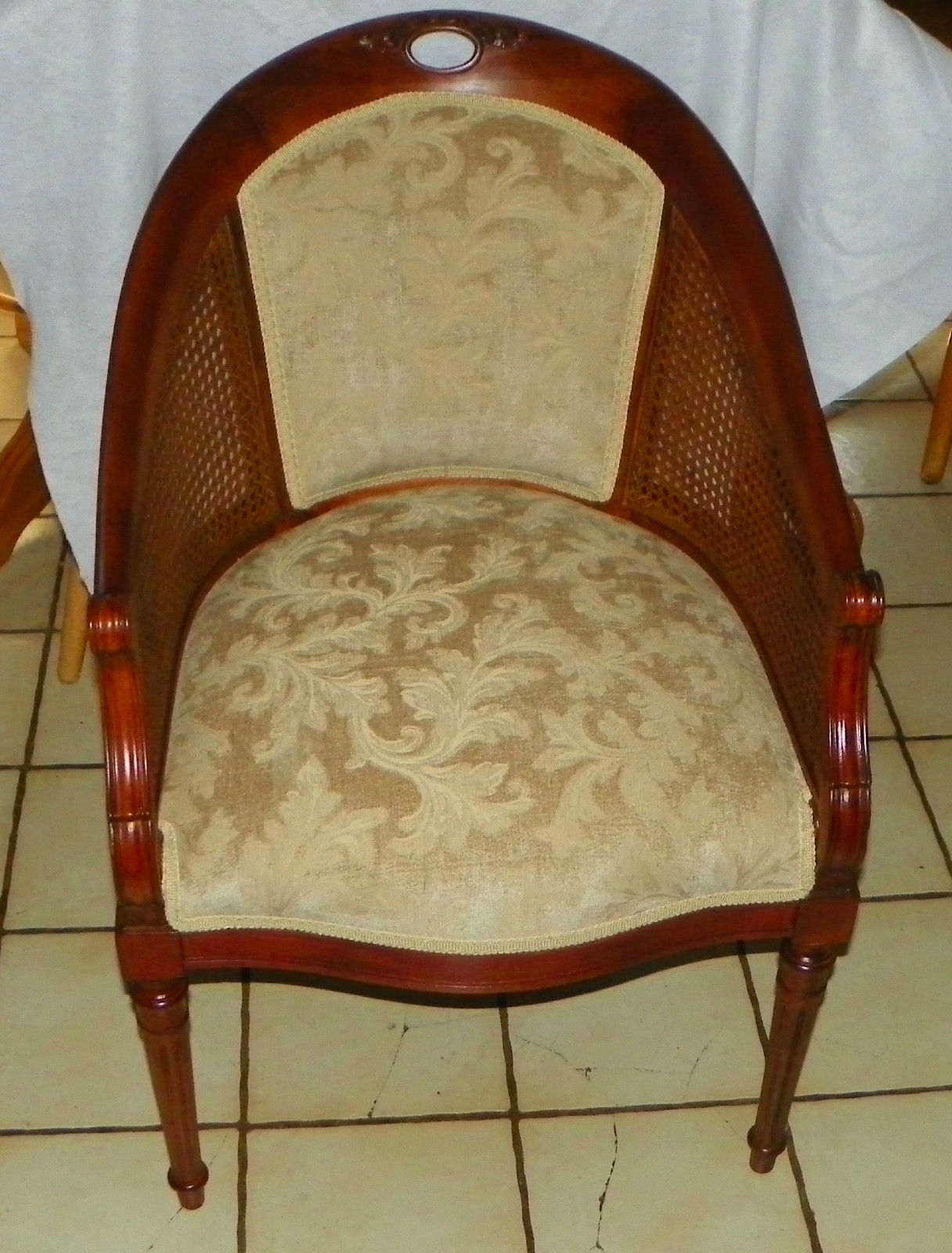 Mahogany Carved Armchair / Chair with Caned sides  (AC19) - $499.00