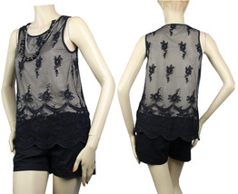 Mesh & Lining w/Necklace Tank Top style Blouse Dinner Cocktail Party Cut... - $19.99