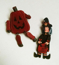 Set of Two Halloween Pins Witch and Jack-o-lantern Pumpkin Hand painted ... - $8.86