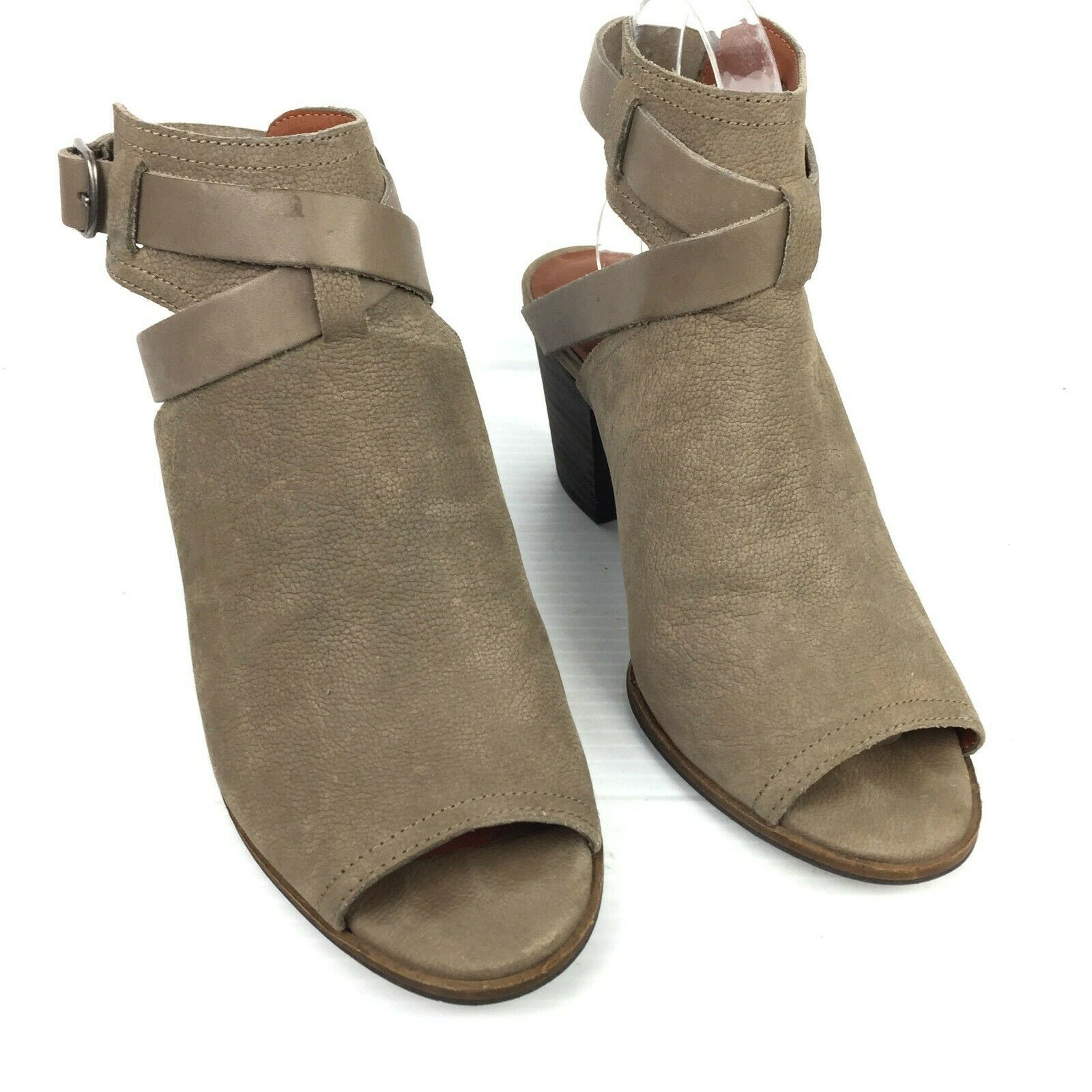 """LUCKY BRAND """"Harum"""" Taupe Bridle LeatherPeep Toe Open Back Booties Size 8 Med image 3"""