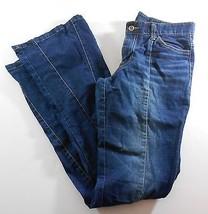 Rocawear Womens Jeans 30 Blue Denim Flare Bottom Factory Faded 5 Pocket - $11.88