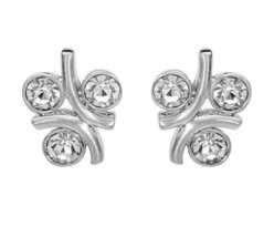3 Stone Stud Earrings CZ Crystal Rhodium Plated Fashion Jewelry Unique Gift - $43.68