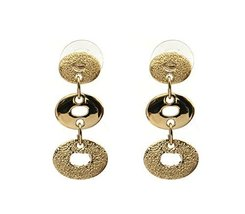 Handmade JenniferLovey Stud Gold Statement Earrings Long 3 Round Circles - $54.80