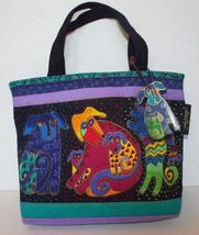 LAUREL BURCH Small Canvas Tote DOGS AND DOGGIES Canine Purse Handbag Boo... - $23.36